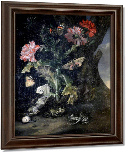 Still Life With Carnations And Frogs By Willem Van Aelst By Willem Van Aelst