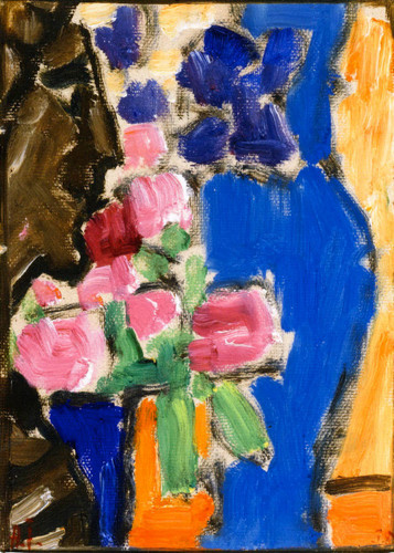 Still Lifeflower Still Life With Vase And Figure,Semi Profile By Alexei Jawlensky By Alexei Jawlensky
