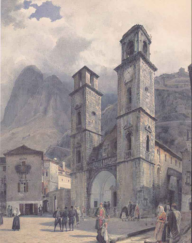 The Cathedral Square In Cattaro By Rudolf Von Alt