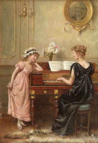 The Recital By George Goodwin Kilburne By George Goodwin Kilburne