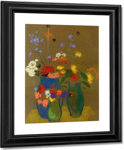 Three Vases Of Flowers1 By Odilon Redon