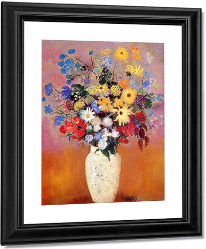 White Vase With Flowers By Odilon Redon