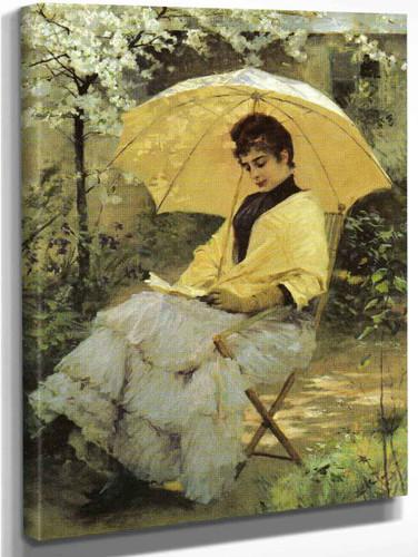 Woman And Parasol By Albert Edelfelt