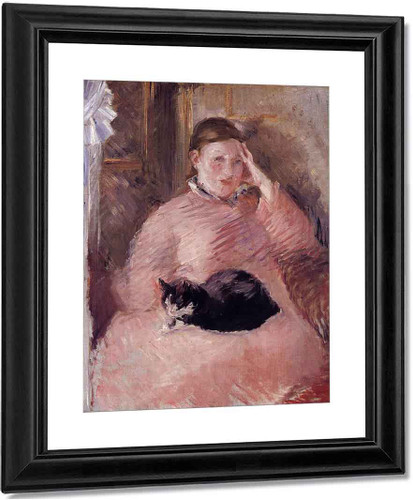 Woman With A Cat, Portrait Of Madame Manet By Edouard Manet By Edouard Manet
