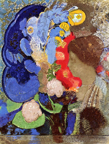 Woman With Flowers1 By Odilon Redon