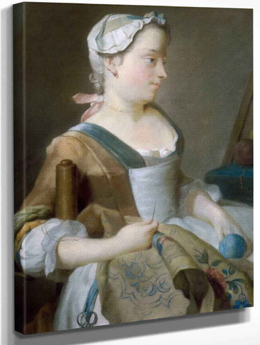 Young Girl Embroidering By Jean Etienne Liotard
