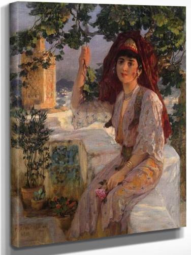 Young Girl Of Tlemcen, Algeria By Frederick Arthur Bridgman