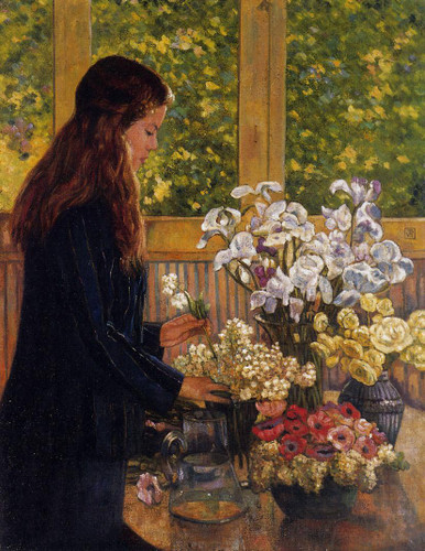 Young Girl With A Vase Of Flowers By Jose Maria Velasco