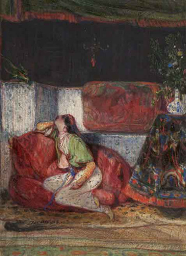 Young Oriental Woman In An Interior By Alexandre Gabriel Decamps
