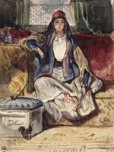 Young Oriental Woman Sitting On A Couch And Smoking, With A Squirrel By Alexandre Gabriel Decamps