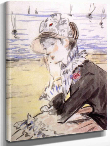 Young Woman By The Sea By Edouard Manet By Edouard Manet