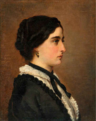 Young Woman In Black By Albert Edelfelt