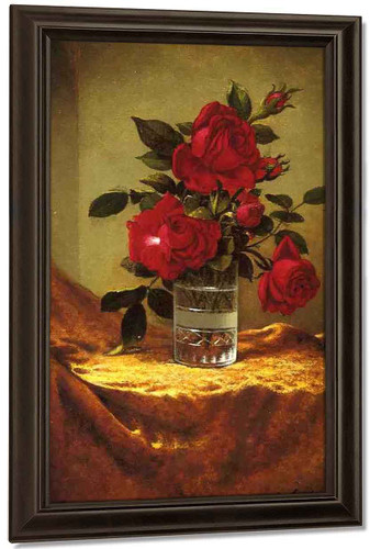 A Glass Of Roses On Gold Cloth By Martin Johnson Heade