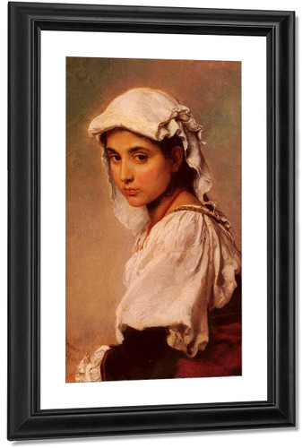A Portrait Of A Tyrolean Girl By Ludwig Knaus