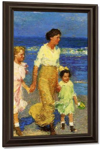 A Walk On The Beach By Edward Potthast By Edward Potthast