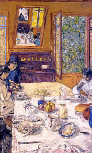 Annette Nathanson, Lucy Hessel And Miche Savoir At Breakfast By Edouard Vuillard Art Reproduction