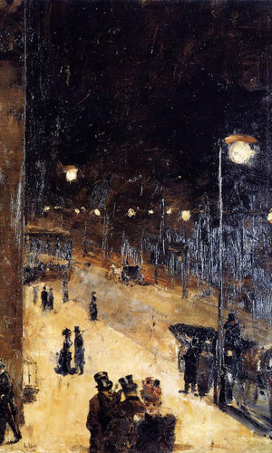 Berlin Street At Night By Lesser Ury