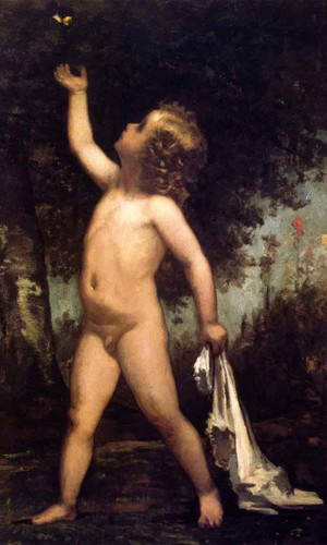 Boy With Butterfly By William Morris Hunt By William Morris Hunt