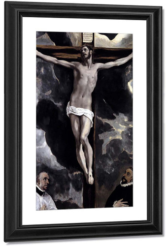 Christ On The Cross Adored By Two Donors By El Greco By El Greco