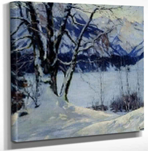 A Frozen Lake In A Mountainous Winter Landscape By Edward Cucuel By Edward Cucuel Art Reproduction