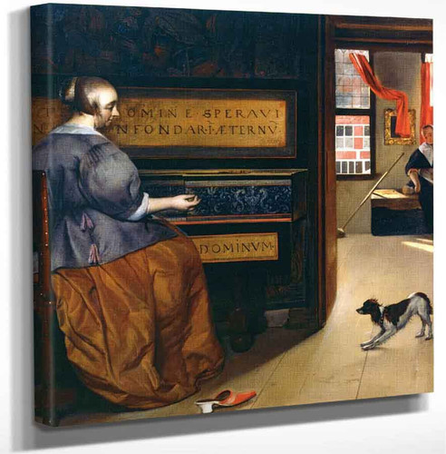 A Woman At The Virginal With A Dog By Gabriel Metsu Art Reproduction