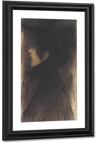 Girl With Hat And Cape In Profile By Gustav Klimt By Gustav Klimt