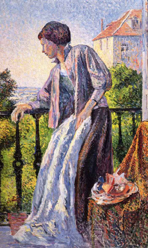 Madame Luce On The Balcony By Maximilien Luce By Maximilien Luce