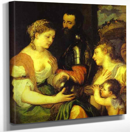 An Allegory Perhaps Of Marriage With Vesta And Hymen As Protectors And Advisers Of The Union Of Venus And Mars By Titian Art Reproduction