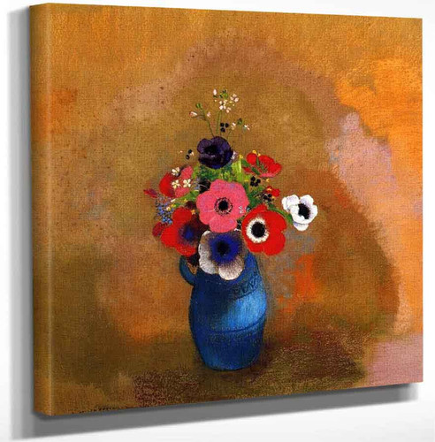 Anemonies In A Blue Vase By Odilon Redon Art Reproduction