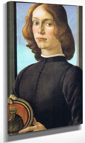 Portrait Of A Young Man Holding A Medallion By Sandro Botticelli