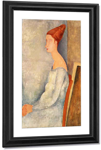 Portrait Of Jeanne Hebuterne Seated In Profile By Amedeo Modigliani By Amedeo Modigliani