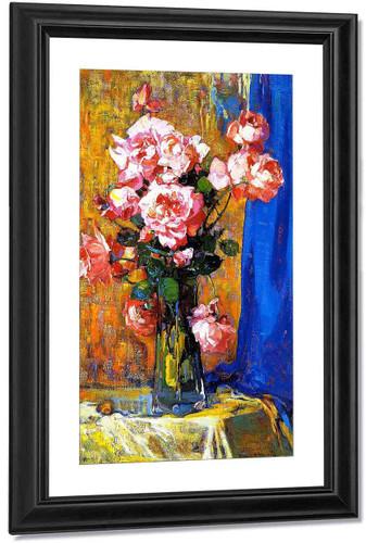 Roses In A Atall Glass1 By Franz Bischoff By Franz Bischoff
