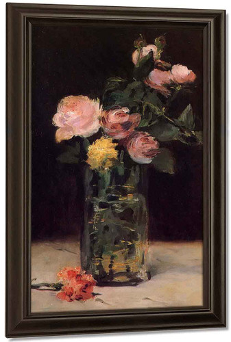 Roses In A Glass Vase By Edouard Manet By Edouard Manet