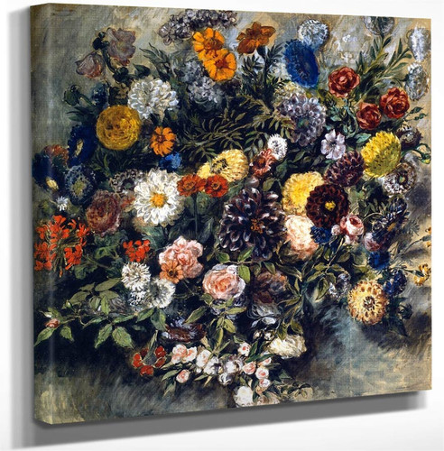 Bouquet Of Flowers By Eugene Delacroix Art Reproduction