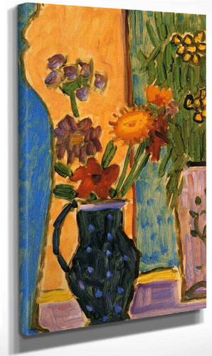 Still Life Flowers With Blue Vases And Pink Wallpaper By Alexei Jawlensky By Alexei Jawlensky