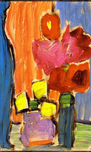 Still Life Red Flowers In A Blue Vase By Alexei Jawlensky By Alexei Jawlensky