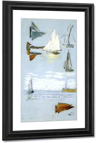Study Of Sailboats And Harbor By Claude Oscar Monet