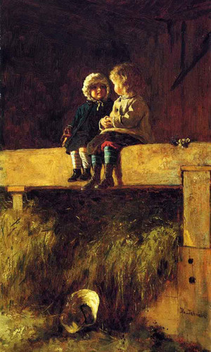 The Confab By Eastman Johnson By Eastman Johnson