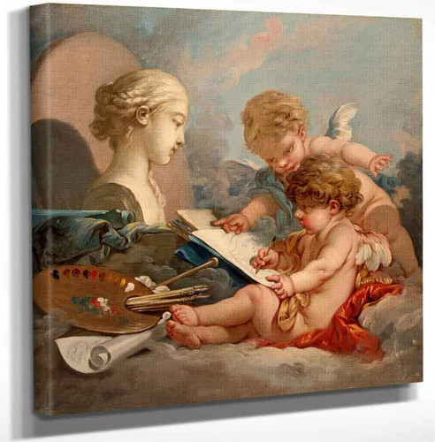 Cupids. Allegory Of Painting By Francois Boucher Art Reproduction