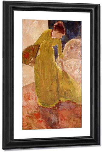 Woman Standing, Holding A Fan 2 By Mary Cassatt Art Reproduction