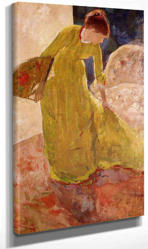 Woman Standing, Holding A Fan By Mary Cassatt Art Reproduction