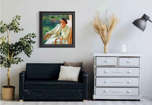 Elizabeth Van Rysselberghe In A Cane Chair By Theo Van Rysselberghe Art Reproduction