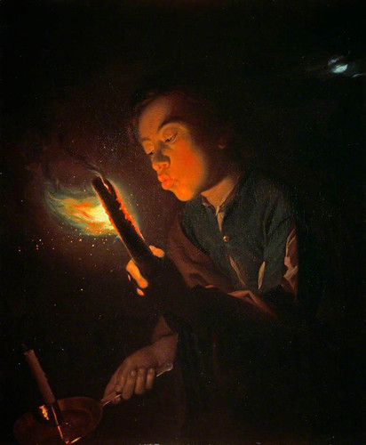A Boy Blowing On A Firebrand To Light A Candle By Godfried Schalcken