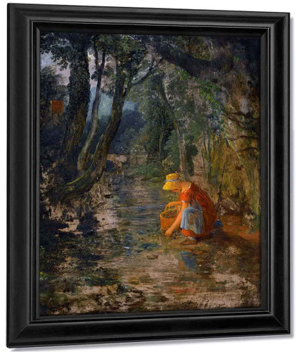 A Girl Collecting Berries By A Brook In A Wooded Landscape By Francis Danby