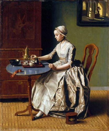 A Lady Pouring Chocolate By Jean Etienne Liotard