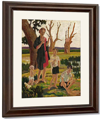A Mother And Three Children In A Landscape By Harold Harvey