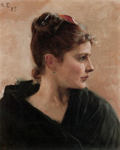 A Portrait Of A Young Lady By Albert Edelfelt