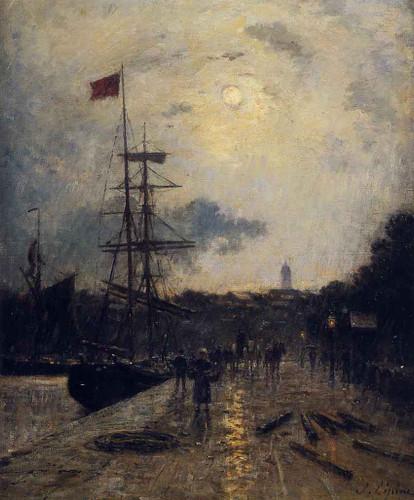 A Quay At Caen By Stanislas Lepine