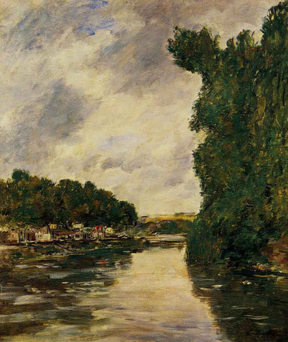 A River Near Dabbeville By Eugene Louis Boudin By Eugene Louis Boudin