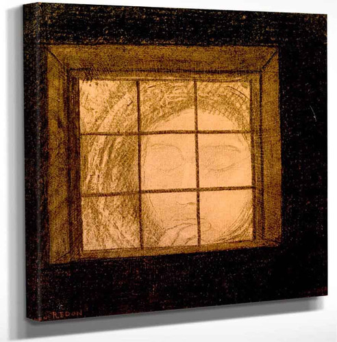 Face Behind A Window By Odilon Redon Art Reproduction